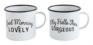 Good Morning/Hello There enameled mugs