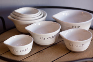 Taupe Striped ceramic stacking measuring cups