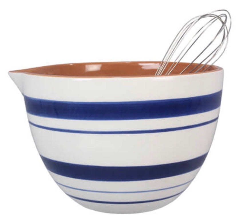 Blue & White Mixing Bowl w/whisk