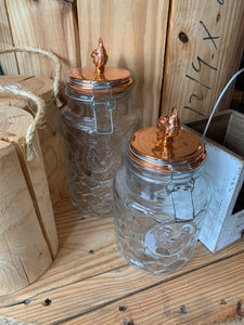 Rooster glass & copper canisters - set of 2