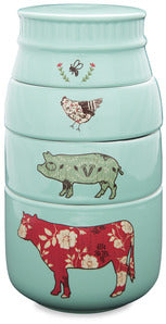Stacked farm animals mason jar measuring cups