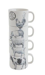 Stoneware Stacked mugs with farm animals set of 4