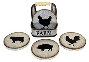 Farm Tin Coaster set with rack