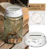 Mason Jar Coin Bank lid - white
