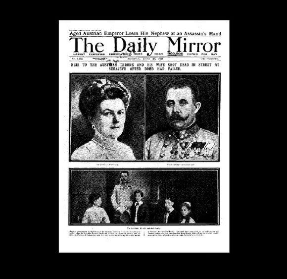 Daily Mirror - Assassination of Archduke Ferdinand - 1914
