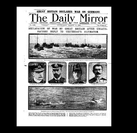 Daily Mirror - Britain declares war - 5th August 1914