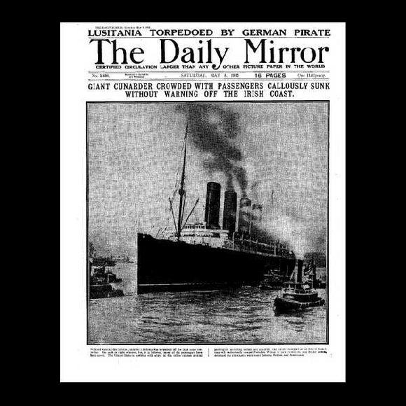 Daily Mirror - Sinking of Lusitania - 1915