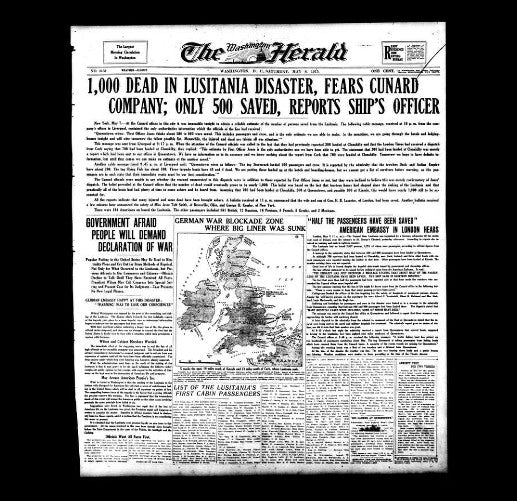 Washington Herald - Sinking of Lusitania - 1915