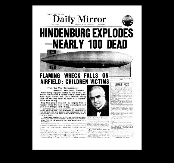 Daily Mirror - airship Hindenburg crashes - 1937