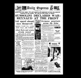 Daily Express - Mussolini declares war - 11 June 1940