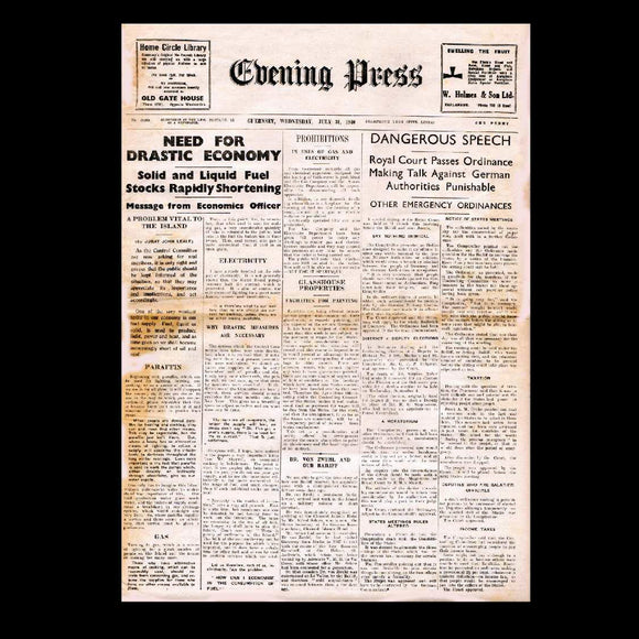 Guernsey Evening Press- Germany occupies Guernsey - 1940