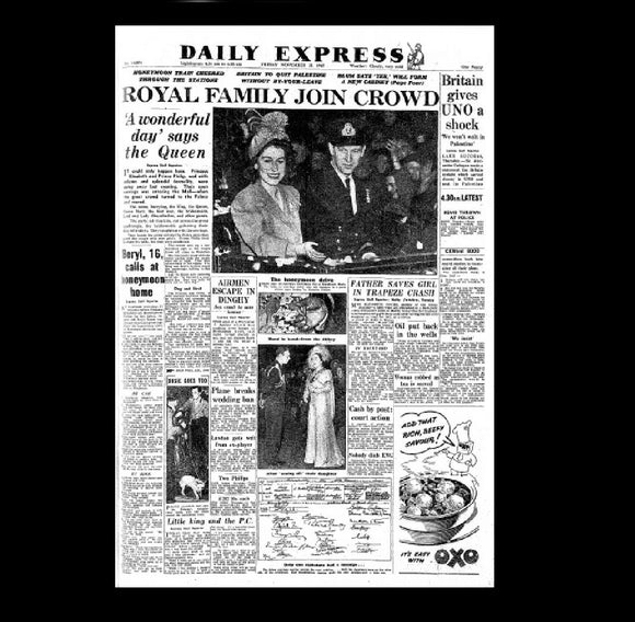 Daily Express - wedding of Princess Elizabeth - 1947