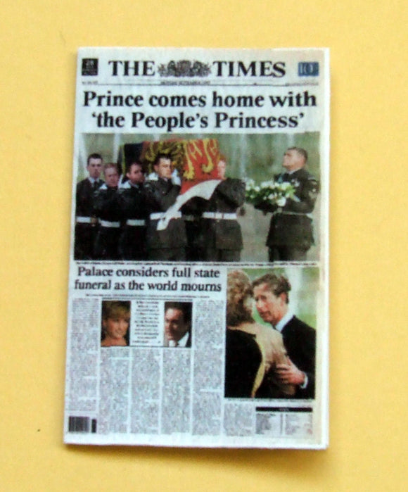 1:12th Miniature newspaper  The Times 1997, Death of Diana