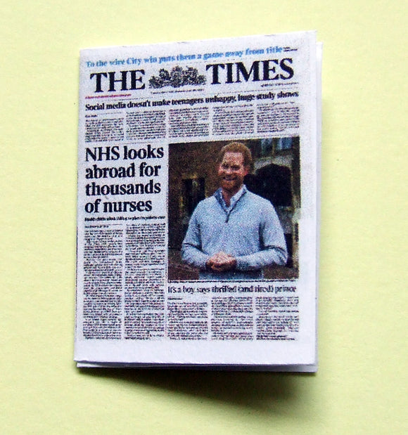 Dollshouse miniature newspaper - The Times birth of Royal baby  Archie