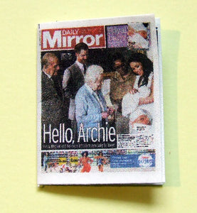 Dollshouse miniature newspaper - The Daily Mirror first pictures  of Royal baby  Archie