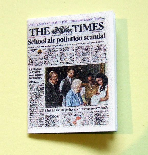 Dollshouse miniature newspaper - The Times first pictures  of Royal baby  Archie