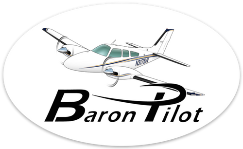Baron Pilot Oval Sticker