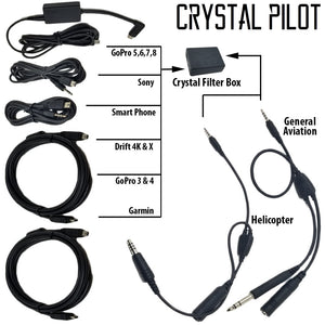 Crystal Pilot Heli Power Audio Cable w/ 6ft Garmin Adapter
