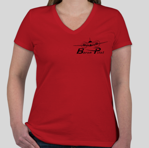 Red Women's Baron Pilot V-Neck Shirt