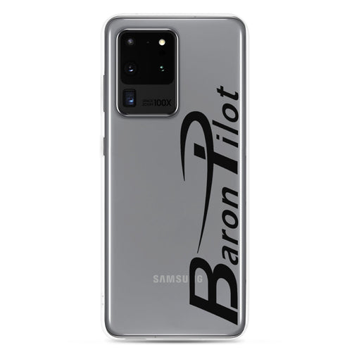 Clear Baron Pilot Samsung (All S20 Versions) Phone Case - Black Font