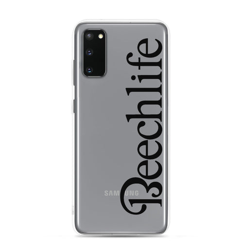 Clear Beechlife Samsung (All S20, S9 Versions) Phone Case - Black Font