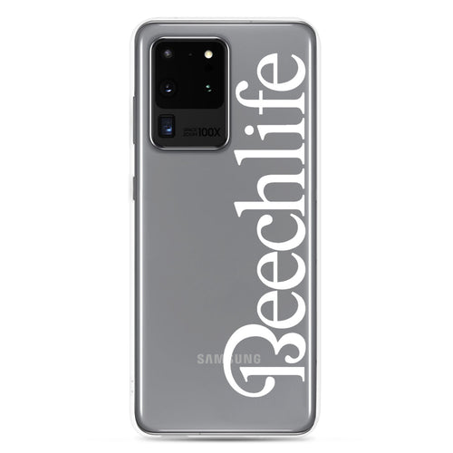 Clear Beechlife Samsung (All S20, S9 Versions) Phone Case - White Font