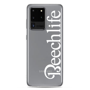 Clear Beechlife Samsung (All S20 Versions) Phone Case - White Font