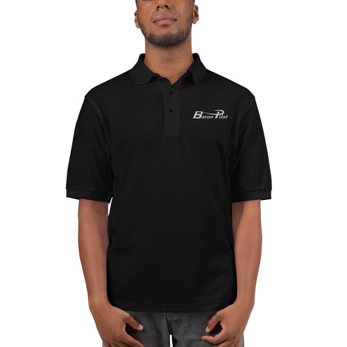 Embroidered Black Baron Pilot Men's Premium Polo