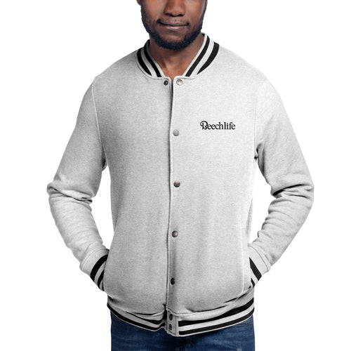 Beechlife Oxford Gray Embroidered Champion Bomber Jacket