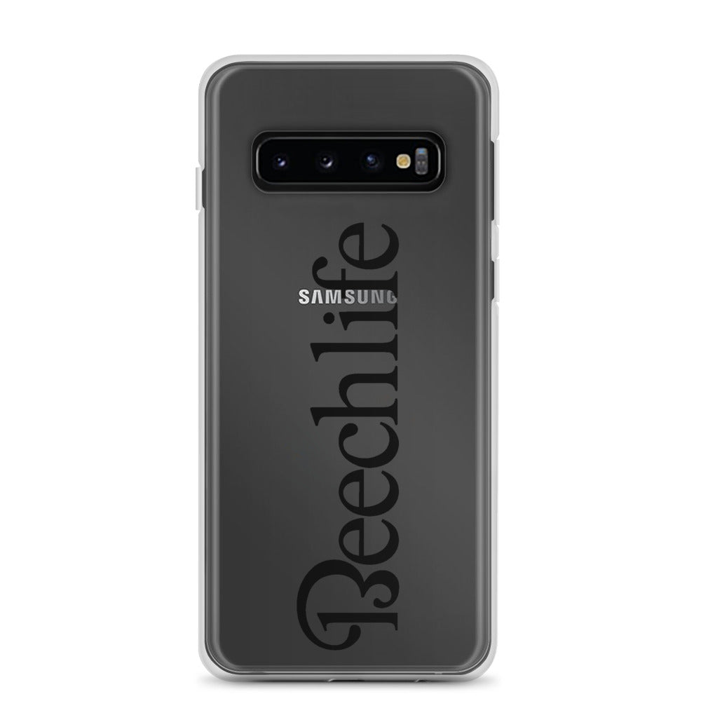 Clear Beechlife Samsung (All S10  Versions) Phone Case - Black Font