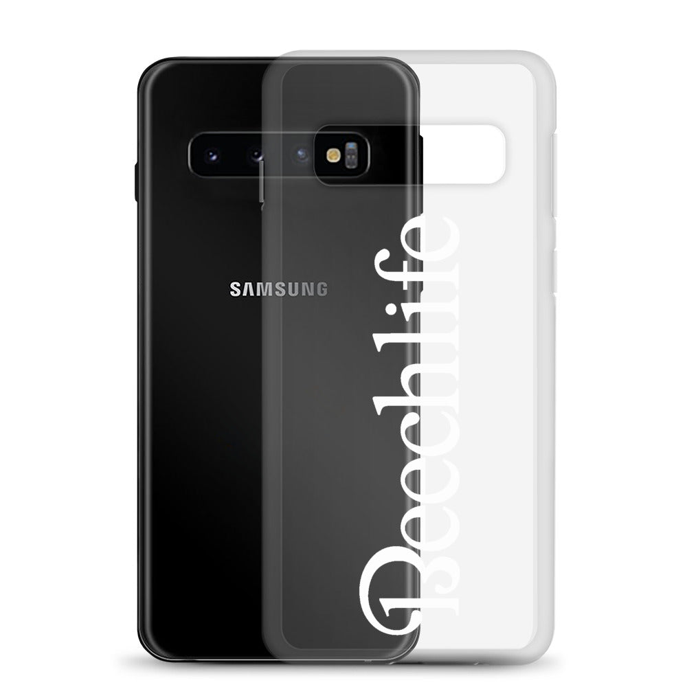 Clear Beechlife Samsung (All S10  Versions) Phone Case - White Font