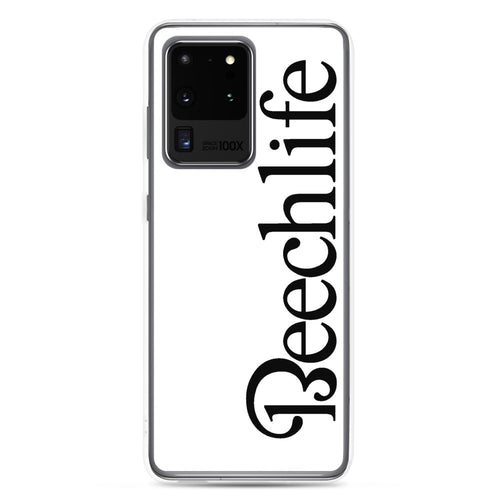 White Beechlife Samsung (All S20, S9 Versions) Phone Case - Black Font
