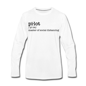 Definition of a Pilot Long Sleeve T-Shirt (More Colors) - white