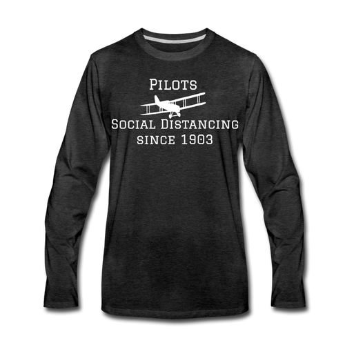 Men's Social Distancing Long Sleeve T-Shirt (More Colors) - charcoal gray