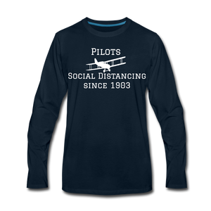 Men's Social Distancing Long Sleeve T-Shirt (More Colors) - deep navy