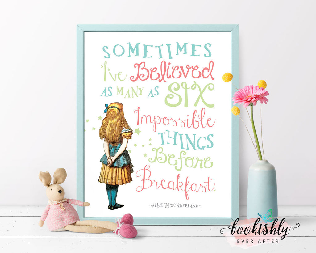 Alice In Wonderland Printable Wall Art Impossible Things Quote