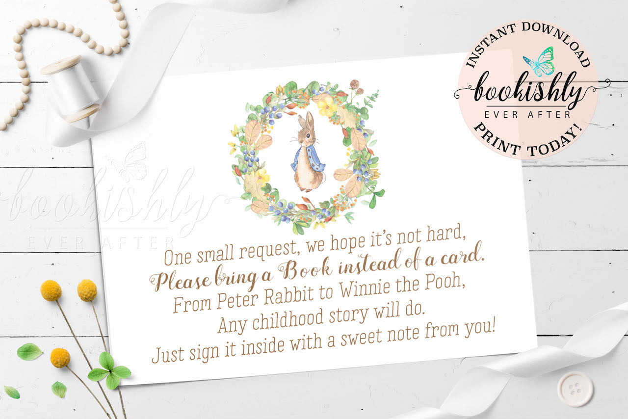 Peter Rabbit Baby Shower Bring A Book Instead Of A Card Printable   BEA206  ...