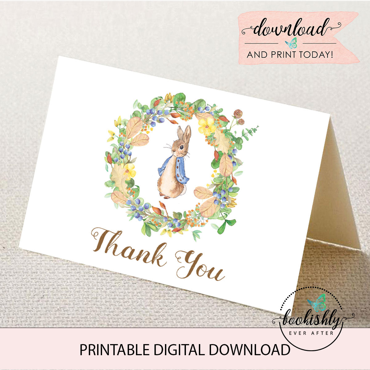 photograph relating to Thank You Card Printable named Peter Rabbit Child Shower Thank By yourself Card Printable - BEA205