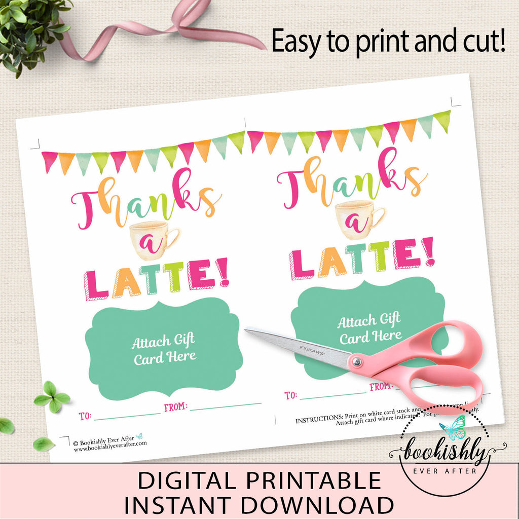 photo about Thanks a Latte Christmas Printable identified as Instructor Reward Card Holder Printable, Due a Latte Starbucks