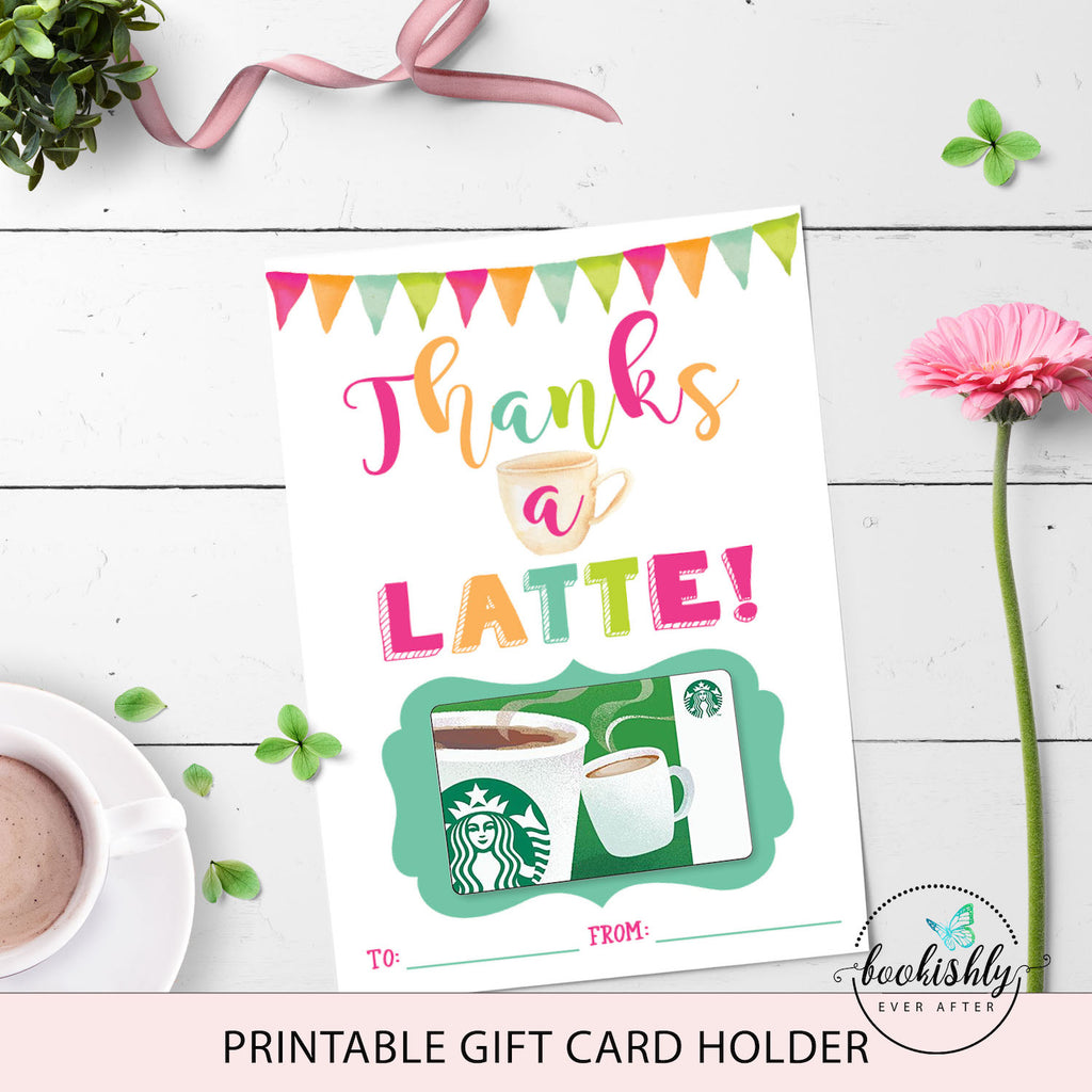 graphic relating to Starbucks Printable Gift Card named Trainer Present Card Holder Printable, Due a Latte Starbucks