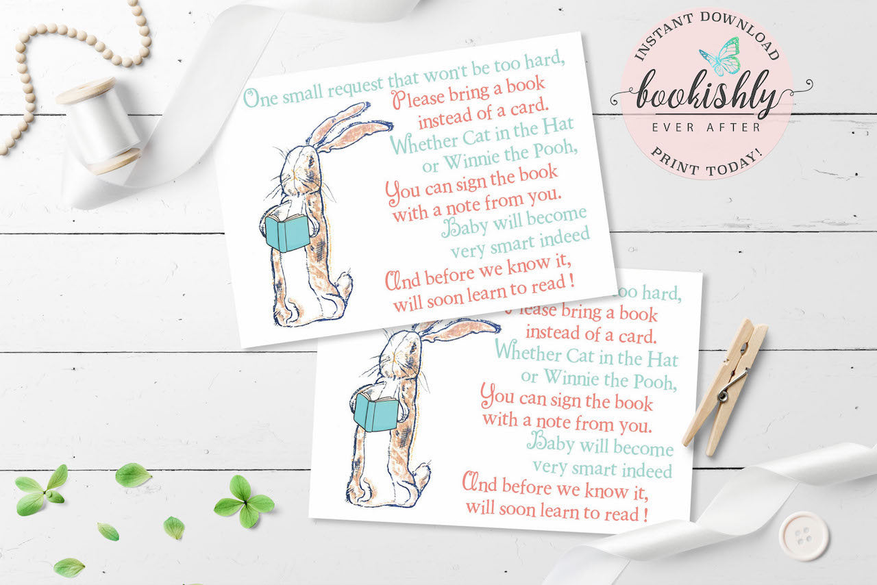 Velveteen Rabbit Bring a Book Instead of a Card Printable, Book Baby ...