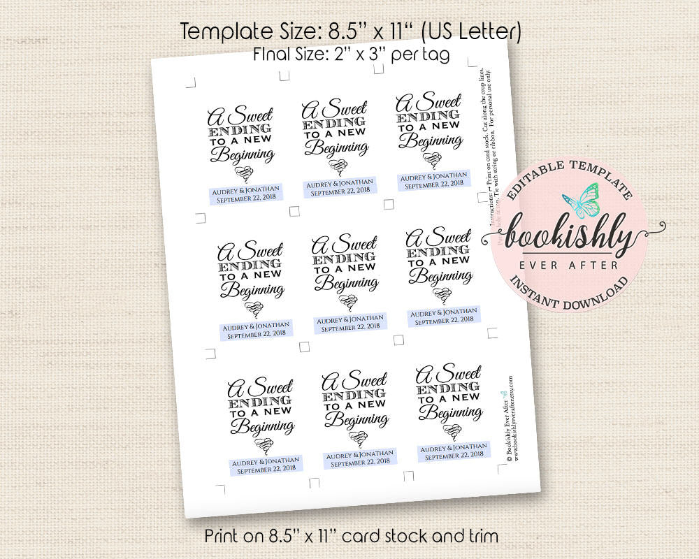 A Sweet Ending to a New Beginning Tag Printable, Wedding Favor Tag ...