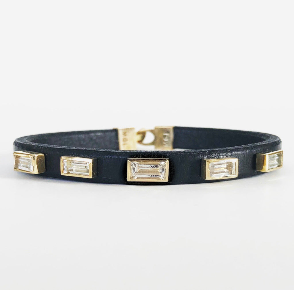 Multi Baguette Leather Bracelet