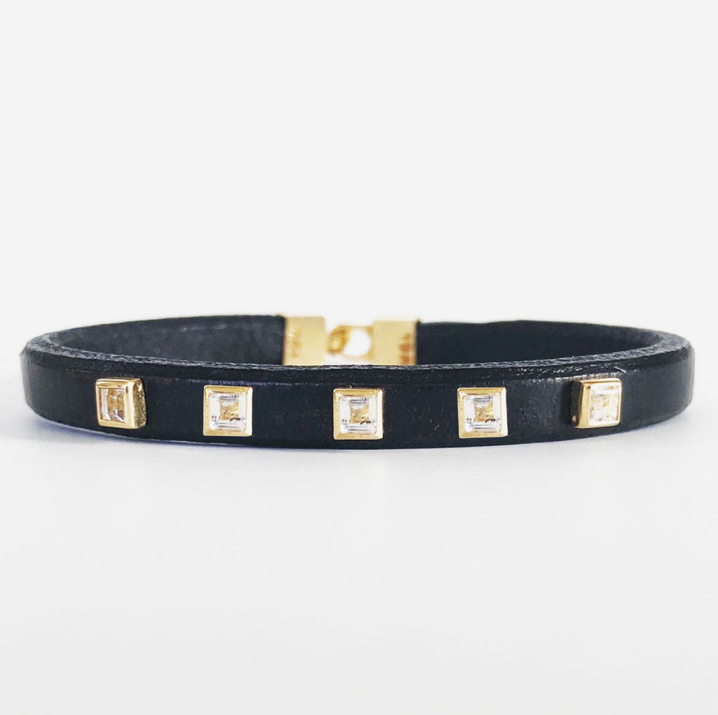 Multi Princess Cut Leather Bracelet