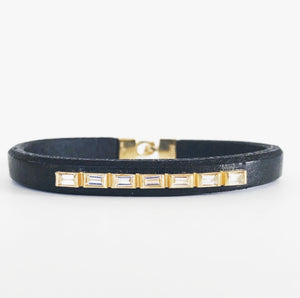 Multi Baguette Bar Leather Bracelet