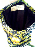 Cotton Yarn Crochet Bag (multi color- navy blue, green, white)