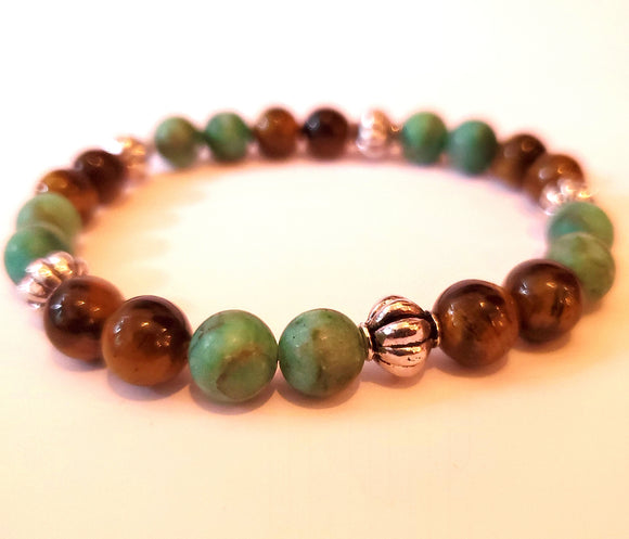 Light Turquoise, Tigers Eye & Silver Tone Metal Bead Bracelet