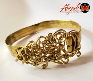 Solid Brass Bracelet Coiled Brass Wire