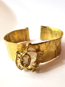 Hammered Brass Cuff with Clear Quartz