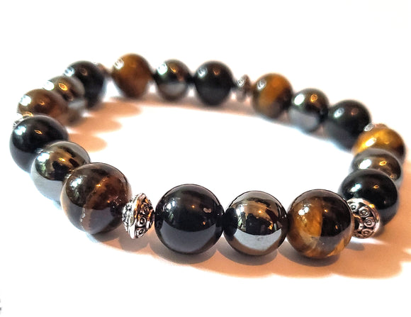 Hematite, Tiger's  Eye and Black Obisidan Bracelet
